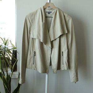 Vince Paper Leather Drape Neck Jacket – Cream S